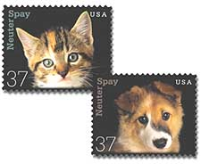 Spay and Neuter Stamps Issued by the U.S. Postal Service